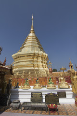Central Chedi at the Wat Phra Doi Suthep.Chiang Mai, Thailand
