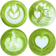 Latte art with Japanese green tea matcha, isolated in white background