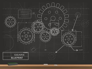 Gears Blueprint Chalkboard Vector Illustration