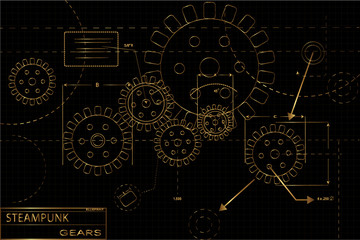 Steampunk gears blueprint illustration