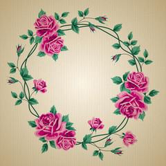 Wreath of roses on cardboard