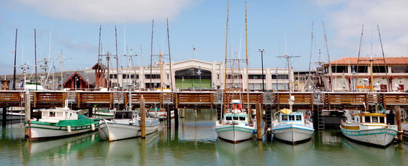 Photo sur Plexiglas San Francisco Panoramic view of Fisherman Wharf San Francisco