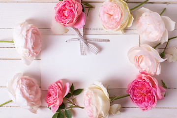 Pastel roses  and empty tag
