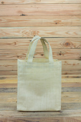 Shopping bag ,recycled sack bag  on wooden background