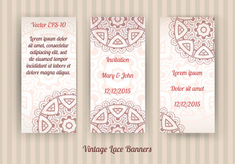 vector set of 3 vintage lace banners