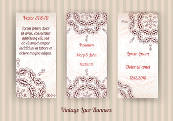 vector set of 3 vintage lace banners in light brown and beige colors