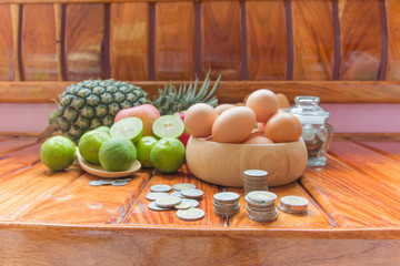 Saving money to buy healthy fruits, save money saving concept,Fruit , pineapple, apple