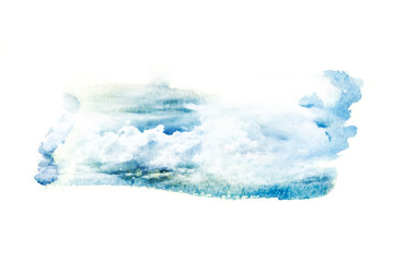Watercolor illustration of cloud.