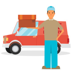 Man postal delivery courier man in front of cargo van delivering