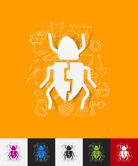 beetle paper sticker with hand drawn elements