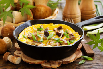 Omelette (frittata) with wild mushrooms.