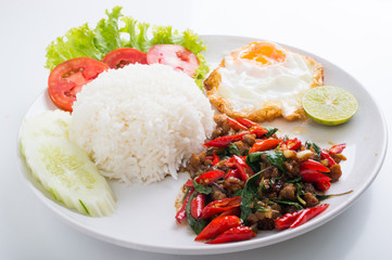Stir-Fried pork and Basil with Rice and Egg