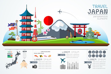 Info graphics travel and landmark japan template design. Concept Vector Illustration