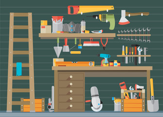 Workspace carpenter tools trendy flat icon, on wood background