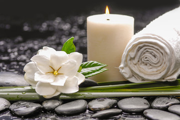 Poster de jardin Spa spa still life - stones and, gardenia ,candle, towel