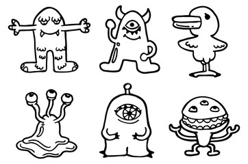 set of cute monster in doodle style