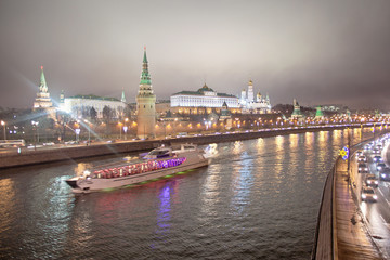 Pleasure boat on the Moscow - the river in the evening. Russia