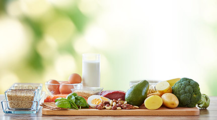 close up of different natural food items on table