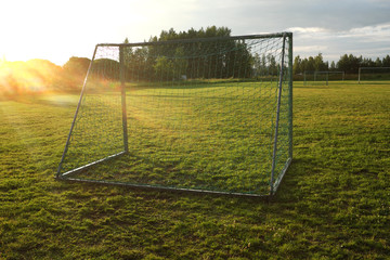 soccer goal on village sports field