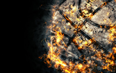 Basketball background. Fire illustration.