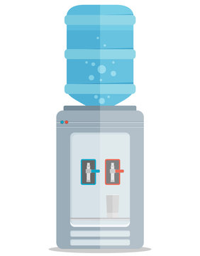 Flat vector icon for water cooler. Gray water cooler