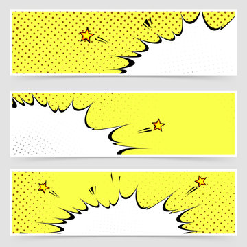Bright yellow comic book style explosion headers