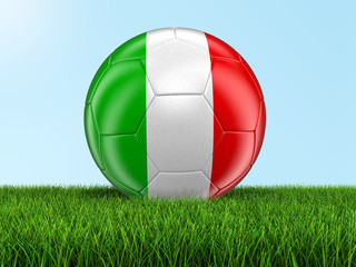 Soccer football with Italian flag on grass. Image with clipping path