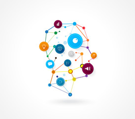 Vector design human head technology business background.
