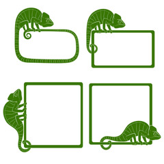 Set of icons with green chameleon. Isolated objects on a white background. Vector illustration.