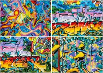 graffitis colorés x 4