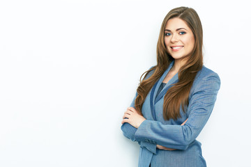 Smiling business woman blue suit dressed standing against white
