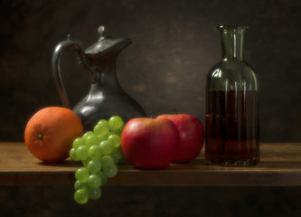 Classic still life with fruit