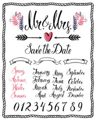 Calligraphic design elements, Mr & Mrs, months, numbers and seas