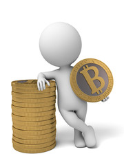 3d people with some bit-coins. 3d image. Isolated white background.