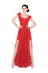 Attractive woman in red dress.