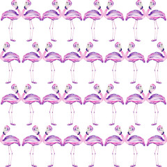 Seamless pattern with a flamingo painted in watercolor on a white background