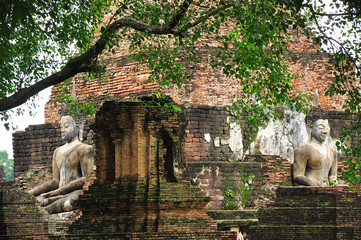 Buddism ancient remains/In Sukhothai province, Thailand, Asia