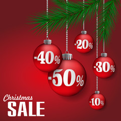 Abstract Christmas sale background with red balls. Vector illustration