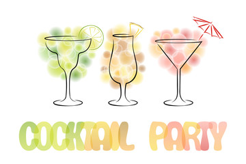 Colorful design for cocktail party invitation with different coc