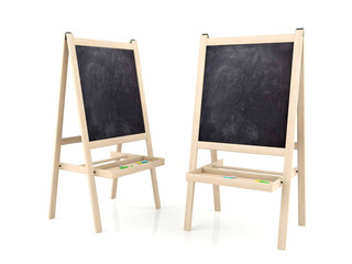 Blank blackboards on wooden stands isolated on white background