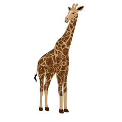 Giraffe with a pattern, an animal with drawing, a herbivorous animal, spots on a skin, a brown giraffe, long legs, a neck with drawing, a brown flower,