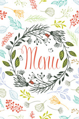 Cover for menu with floral design elements