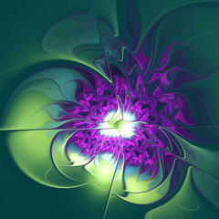 illustration background fractal panels purple flower with leaves