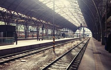 Main railway station in the Prague, Czech Republic.
