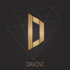 Identity symbol for jewelry industry companies. Diamond in side view.