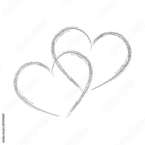 Zwei Herzen Handzeichnung Stockfotos Und Lizenzfreie Vektoren Auf