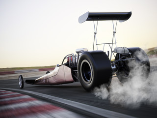 Dragster racing down the track with burnout. Photo realistic 3d model scene with room for text or copy space.