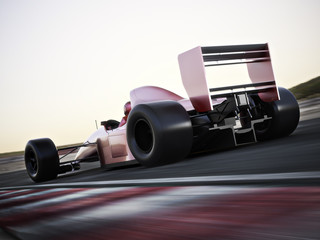 Acrylic Prints F1 Race car back view speeding down a track with motion blur. Photo realistic 3d scene with room for text or copy space