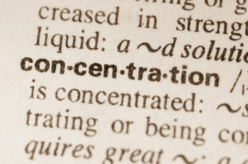 Dictionary definition of word concerntration