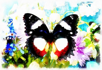 Abstract Flower  with butterfly, computer collage painting